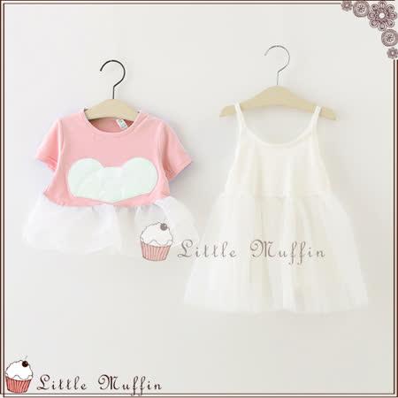 小熊躲貓貓 上衣+背心裙 兩件式蓬蓬裙洋裝