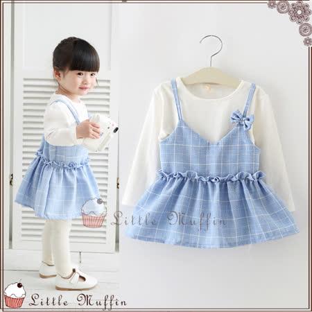 花邊蝴蝶結上衣+背心裙 兩件式薄長袖連身洋裝 專櫃品質
