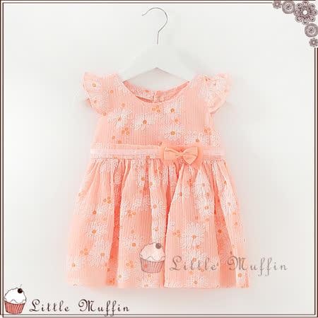 浪漫粉橘花朵飛袖綁帶洋裝 專櫃品質