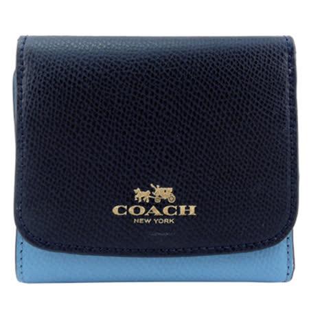 COACH 馬車撞色防刮三折短夾(深藍/天藍)