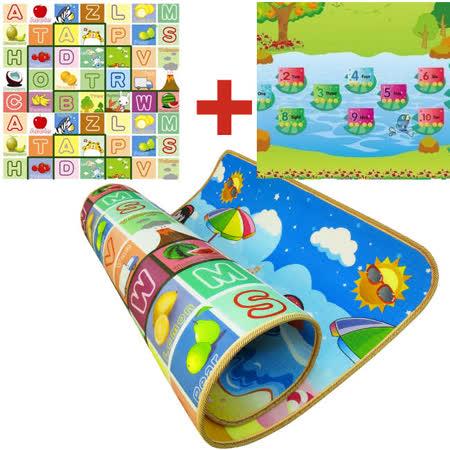 【BabyTiger虎兒寶】EPE雙面環保遊戲爬行地墊-加大版厚1cm-小火車+水果字母(5入組)