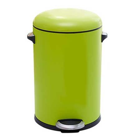 PUSH! 居家生活用品 colourful液壓緩降圓型垃圾桶 置物桶 8升I21-2綠色