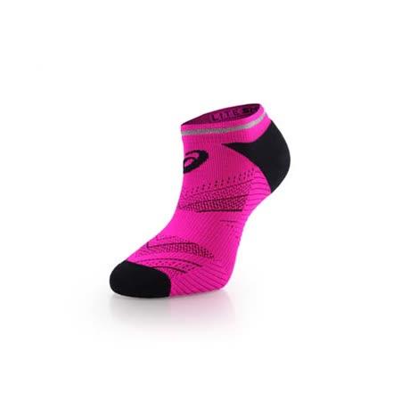 (男) ASICS 反光慢跑襪子-短襪 踝襪 路跑 鐵人三項 亞瑟士 桃紅黑 M