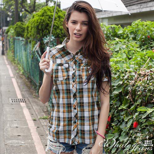 青春率性風短袖格紋襯衫~2色~橘