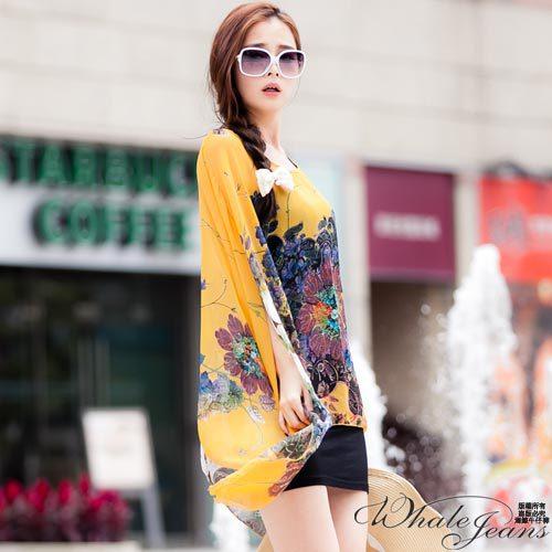 風尚花色圖騰寬版雪紡上衣~2色~黃