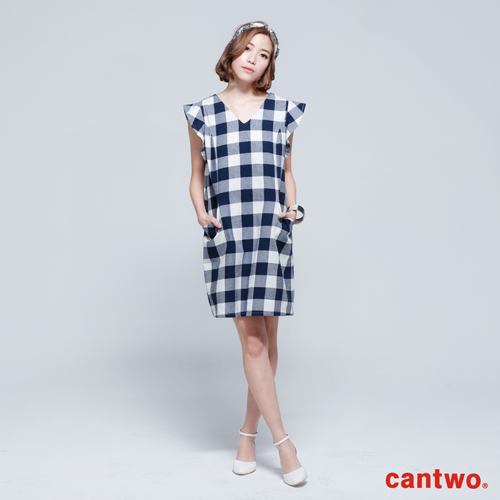 cantwo雙色格紋荷葉無袖V領洋裝^(共二色^)