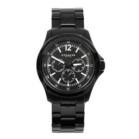 COACH 黑色三眼不鏽鋼離子鍍按壓扣式腕錶