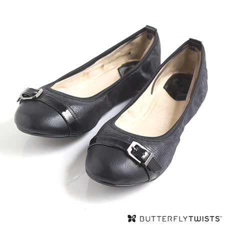 BUTTERFLY TWISTS - ELLA可折疊扭轉芭蕾舞鞋-經典黑