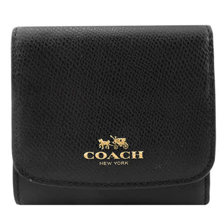 COACH 馬車素色防刮皮革三折短夾(黑)