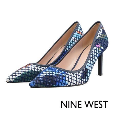 NINE WEST-網布暈染尖頭高跟鞋--粉霧藍