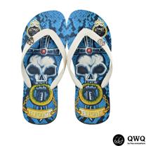 【QWQ】創意設計夾腳拖鞋-梅花骷髏-黑a(男款)