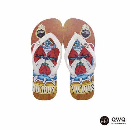 【QWQ】創意設計夾腳拖鞋-惡犬-咖啡a(男款)