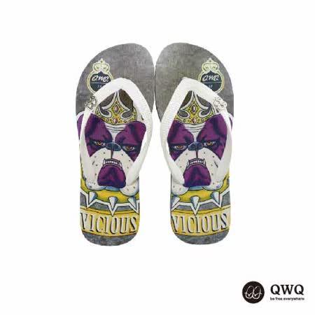 【QWQ】創意設計夾腳拖鞋-惡犬-黑b(男款)