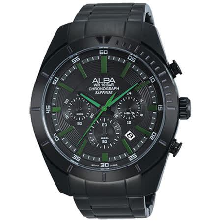 ALBA ACTIVE系列低調簡約型男流行腕錶 (黑-46mm-VD53-X150G)國際碼:AT3603X1