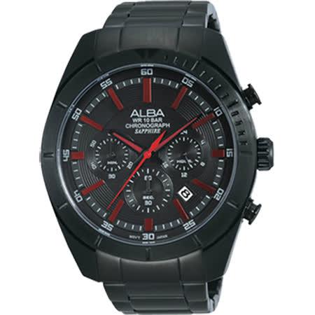 ALBA ACTIVE系列低調簡約型男流行腕錶 (黑-46mm-VD53-X150R)國際碼:AT3605X1