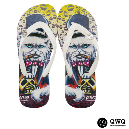 【QWQ】創意設計夾腳拖鞋-Cat Godfather-黑(男款)