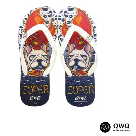 【QWQ】創意設計夾腳拖鞋-Super Dog-黑(男款)
