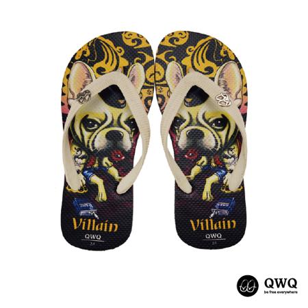 【QWQ】創意設計夾腳拖鞋-Villain Dog-黑(男款)