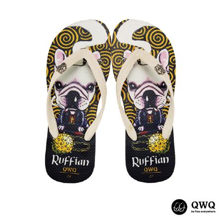 【QWQ】創意設計夾腳拖鞋-Ruffian Dog-黑(男款)