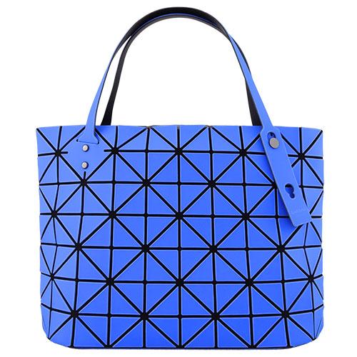ISSEY MIYAKE 三宅一生BAOBAO幾何方格7x10拉鍊托特包(霧面靛藍)