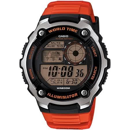 CASIO潛戰世界先鋒運動電子錶(膠帶/橘紅)_AE-2100W-4A