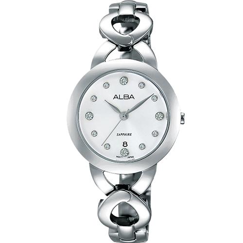 ALBA Fashion Lady施華洛世奇典雅女用腕錶~銀28mmVJ22~X216S^