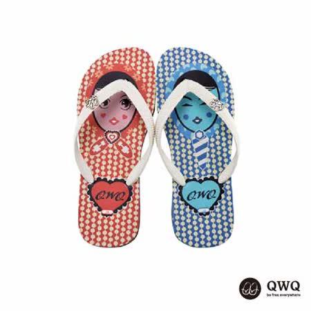 【QWQ】創意設計夾腳拖鞋-豆豆男女-黑(男款)
