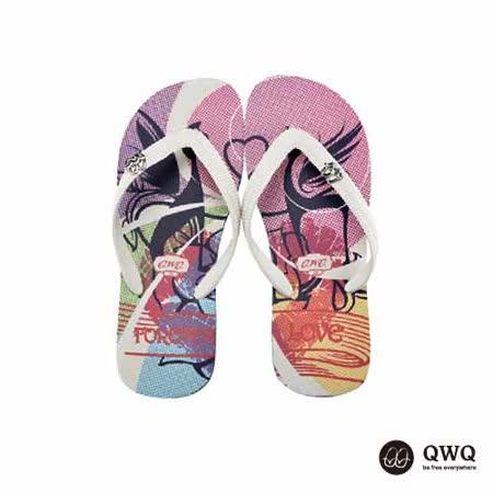 【QWQ】創意設計夾腳拖鞋-貓凝雙-黑(男款)