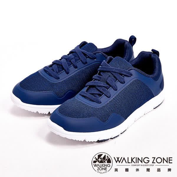 WALKING ZONE(女)超輕量彈性運動休閒女鞋-深藍(另有桃)