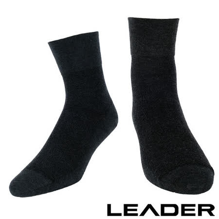 【LEADER】除臭去味 紳士素面短筒寬口襪 (黑色)