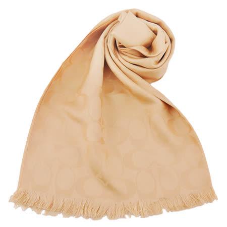 COACH C LOGO 羊毛混絲流蘇圍巾(卡其膚色)