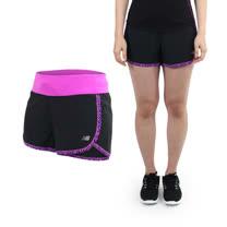 (女) NEWBALANCE DRY專業慢跑短褲-路跑 馬拉松 NB 黑紫