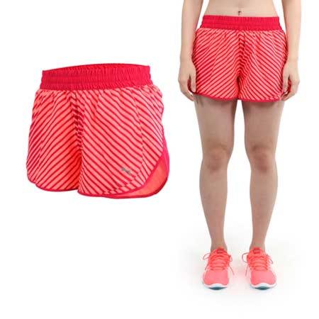 (女) PUMA 條紋3吋運動短褲-慢跑 路跑 桃紅螢光橘