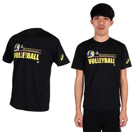 (男) ASICS 排球短袖T恤- 圓領 亞瑟士 黑黃