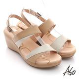 【A.S.O】憶型氣墊 全真皮雙色組合楔型涼鞋(卡其)