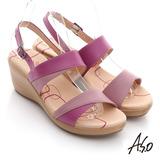 【A.S.O】憶型氣墊 全真皮雙色組合楔型涼鞋(粉紅)
