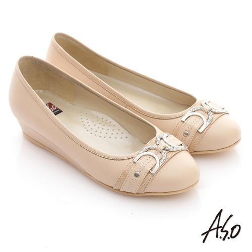 【A.S.O】舒活寬楦 真皮窩心釦飾低跟平底鞋(卡其)