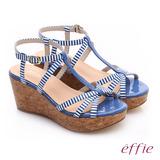【effie】 摩登美型 鏡面真皮海軍風繞踝楔型涼鞋(藍)