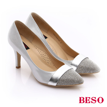 【BESO】 時尚核心 真皮水鑽尖楦迷人高跟鞋(銀)