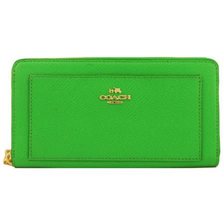 COACH 馬車防刮皮革ㄇ字拉鍊長夾(綠)