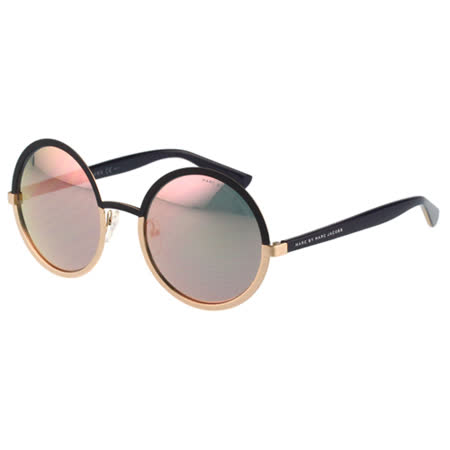 MARC BY MARC JACOBS-反光鏡面 太陽眼鏡(黑+玫瑰金色)