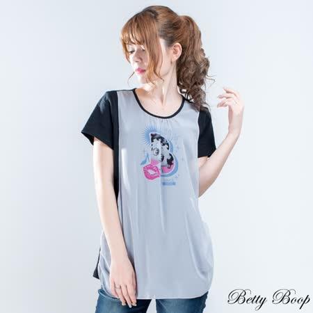 【Betty Boop貝蒂】剪裁雪紡彩圖拼接長版上衣(共二色)