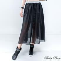 【Betty Boop貝蒂】假兩件彈性棉透膚雪紡長裙(共二色)