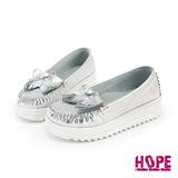 【HOPE】蝴蝶結流蘇厚底休閒鞋-銀(K110I2688)