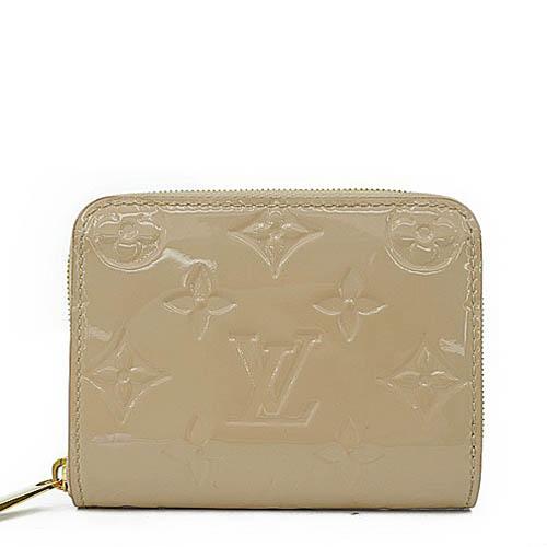 Louis Vuitton LV M90203 花紋全漆皮壓紋信用卡零錢包.沙色_