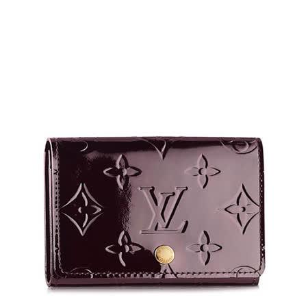 Louis Vuitton LV M91409 VERNIS漆皮壓紋信用卡名片夾.紫紅_預購
