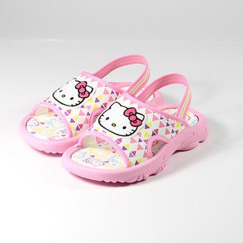 (小童) HELLO KITTY 三角大頭套式拖鞋 白粉 鞋全家福