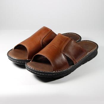 (男) 亞蘭德倫 真皮拖鞋 棕 鞋全家福