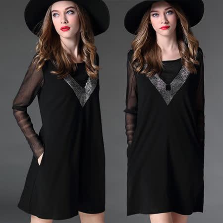 【麗質達人 中大碼】20054燙鑽黑色長袖洋裝(XL-5XL)
