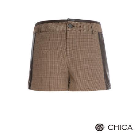 CHICA 時尚探險千鳥紋短褲(2色)-棕格